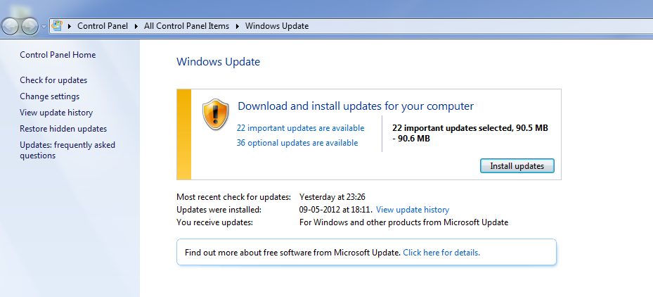 Fix : Windows update fails with specific update package : error code : 0x80000FFFF , Windows 7 & Vista