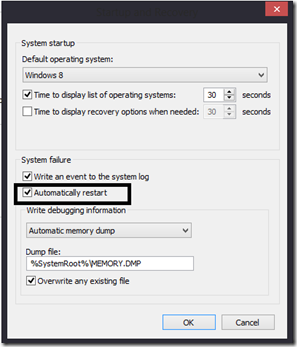 How to disable automatic system restart on system failure in windows 8, 7, vista, XP
