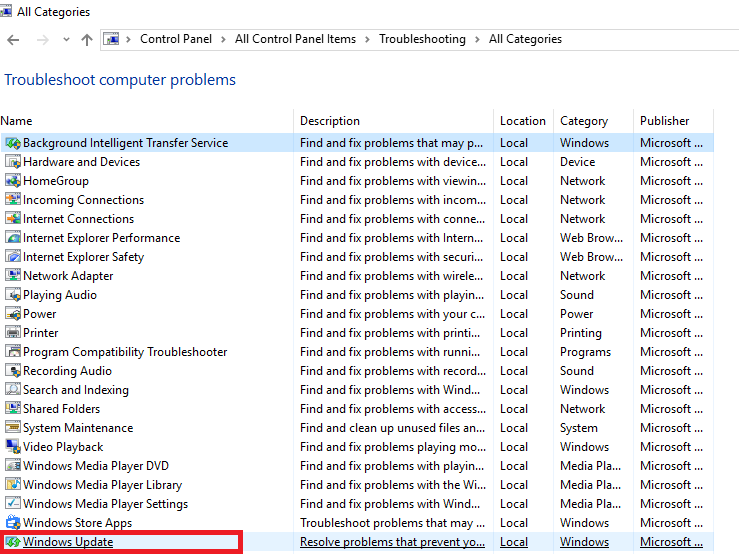 Windows 10 update Troubleshoot
