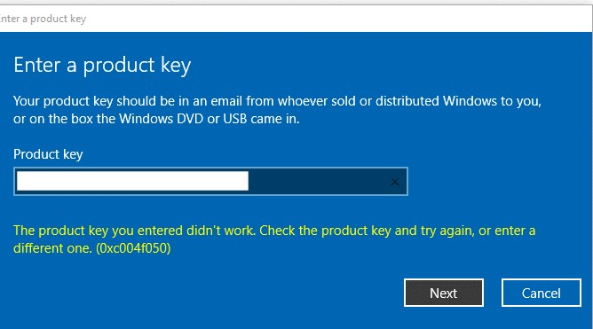 Fix : The product key you entered did not work 0xc004f050